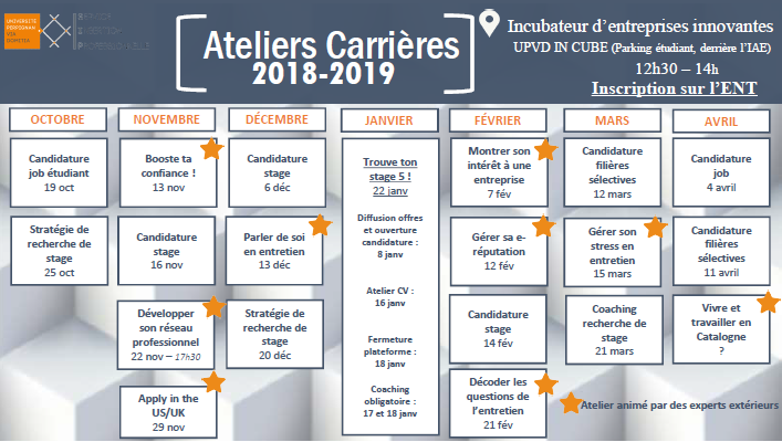 calendrier ateliers 20182019